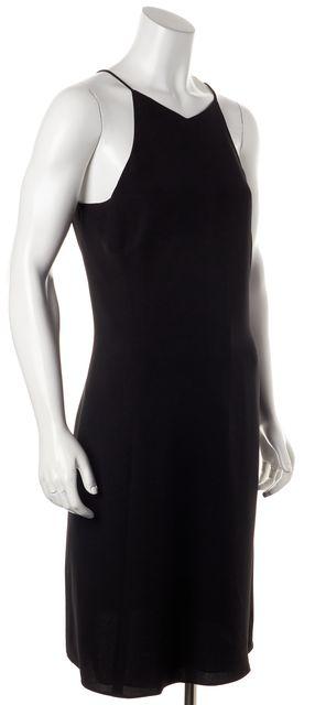 ARMANI COLLEZIONI Black Silk Relaxed Fit Thin Strap Shift Dress
