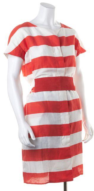 ARMANI COLLEZIONI Orange White Striped Linen Belted Shift Dress