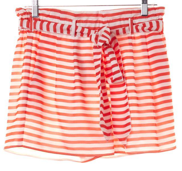 ARMANI COLLEZIONI Orange Striped Silk Casual Shorts