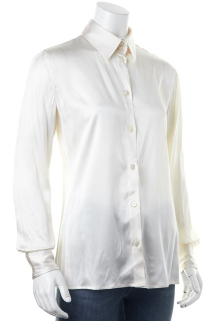 ARMANI COLLEZIONI Ivory Long Sleeve Button Down Shirt Top