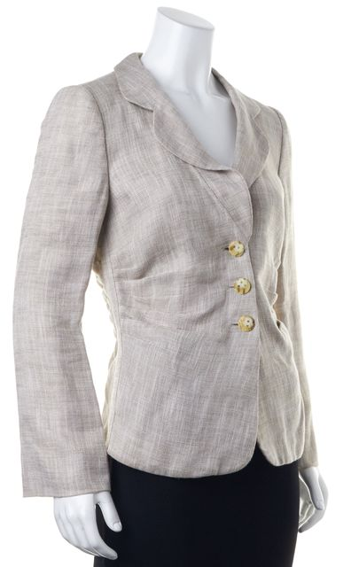 ARMANI COLLEZIONI Pink Beige Button Front Ruched Basic Jacket