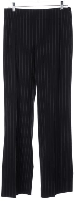 ARMANI COLLEZIONI Black Pinstripe Wool High Rise Wide Leg Dress Pants