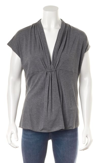 ARMANI COLLEZIONI Gray Pleated Cap Sleeve V-Neck Blouse Top