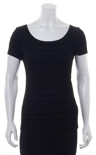 ARMANI COLLEZIONI Black Boat Neck Short Sleeve Knit Blouse Top