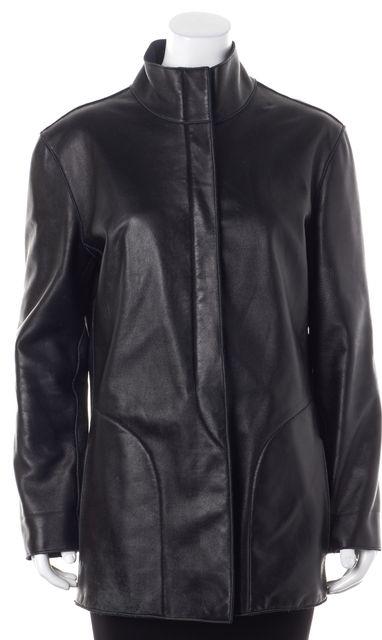 ARMANI COLLEZIONI Black Leather Fleece Lined Basic Zip Front Jacket