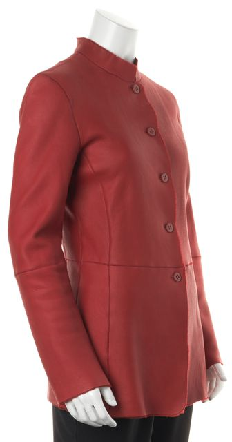 ARMANI COLLEZIONI Red Leather Calf Hair Lined Button-Up Jacket