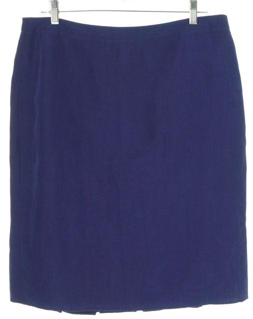 ARMANI COLLEZIONI Blue Linen Pleated Skirt