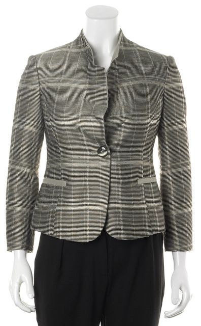 ARMANI COLLEZIONI Beige Black Striped Basic One Button Crop Sleeve Jacket