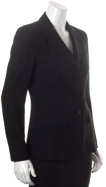 ARMANI COLLEZIONI Black Wool Button Front Career Blazer
