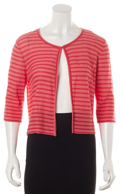 ARMANI COLLEZIONI Pink Striped 3/4 Sleeves Lightweight Cardigan