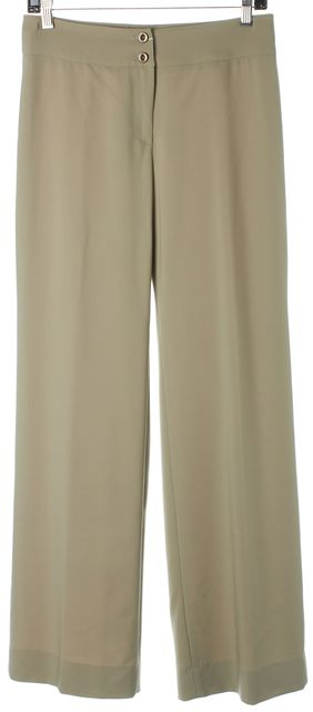 ARMANI COLLEZIONI Beige Wool Wide Leg Career Trousers Pants