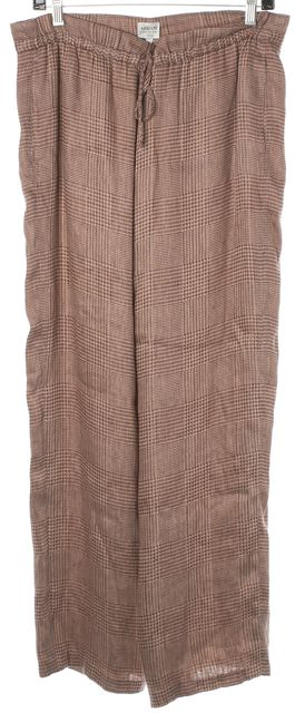 ARMANI COLLEZIONI Red Beige Embroidered Houndstooth Linen Trousers Pants