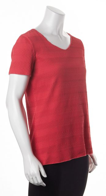 ARMANI COLLEZIONI Pink Textured Short Sleeve Scoop Neck Blouse Top