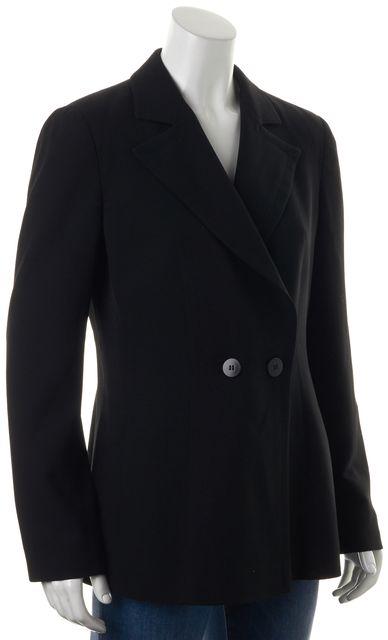 ARMANI COLLEZIONI Black Wool Double Breasted Notch Lapel Blazer