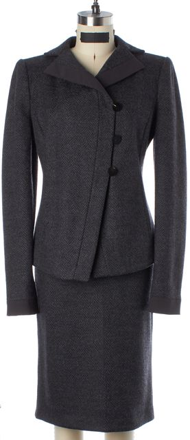 ARMANI COLLEZIONI Gray Black Herringbone Wool Knit Skirt Suit Suit Set