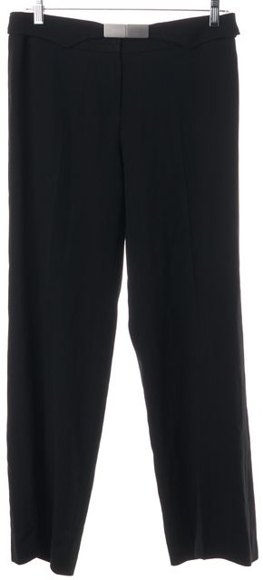 ARMANI COLLEZIONI Black Pleated Belted Trouser Dress Pants