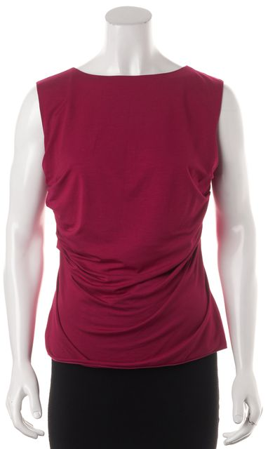 ARMANI COLLEZIONI Pink Ruched Jersey Sleeveless Blouse Top