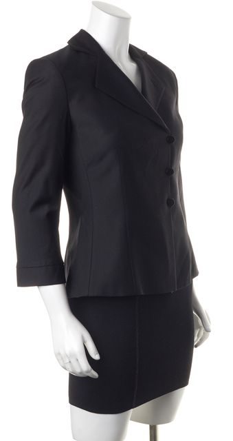 ARMANI COLLEZIONI Black Wool Button Front Cropped Sleeve Basic Jacket