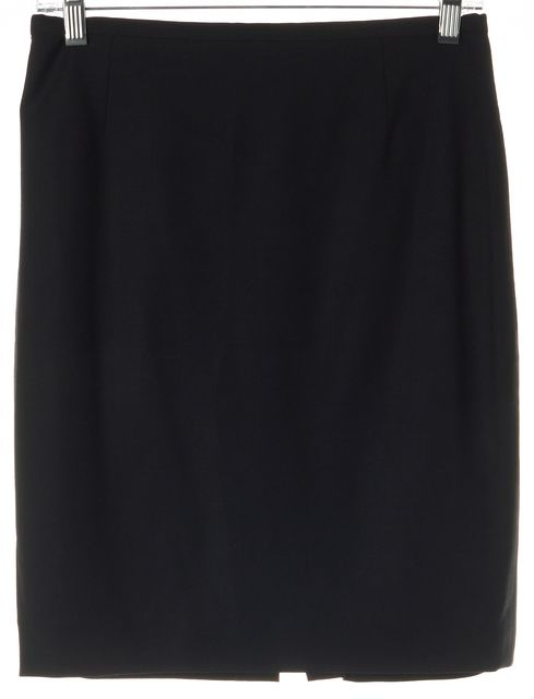 ARMANI COLLEZIONI Black Wool Back Slit Pencil Skirt