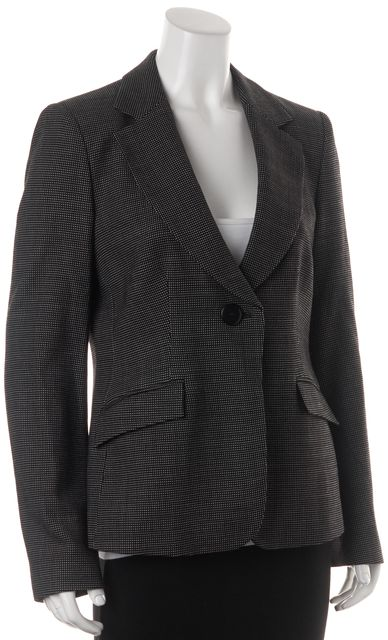 ARMANI COLLEZIONI Black Polka Dot Wool Single Button Blazer