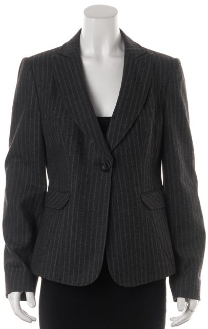 ARMANI COLLEZIONI Gray Pinstriped Wool Single Button Blazer