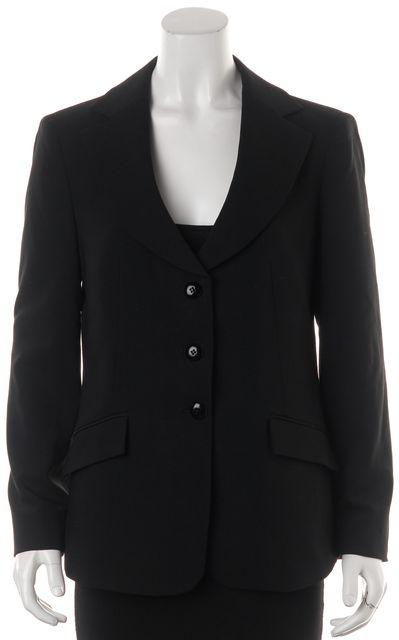 ARMANI COLLEZIONI Black Wool Pocket Front Button Up Blazer