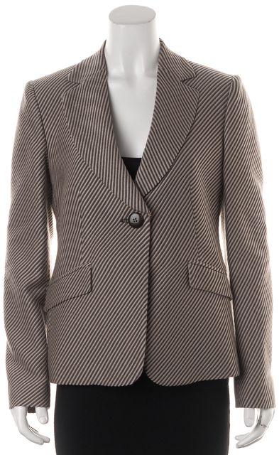 ARMANI COLLEZIONI Beige Textured Striped Wool One Button Blazer