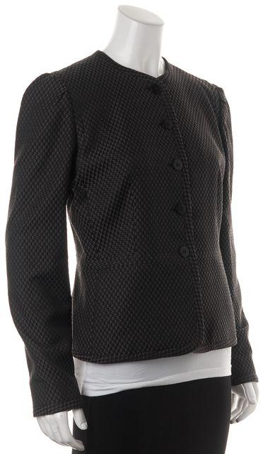 ARMANI COLLEZIONI Gray Black Diamond Button Front Basic Jacket