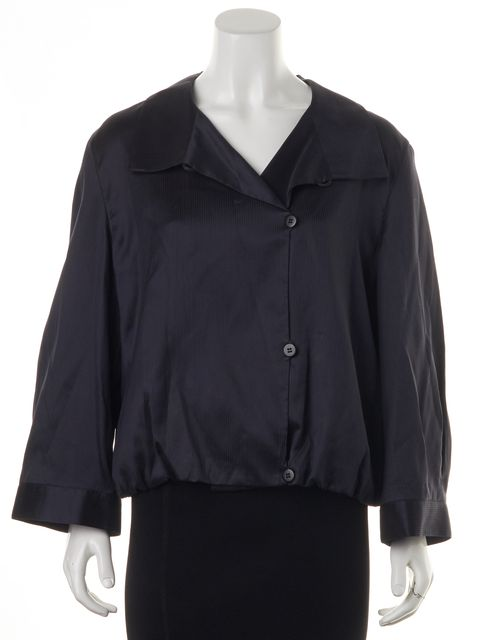 ARMANI COLLEZIONI Navy Blue Gray Striped Buttoned Basic Jacket