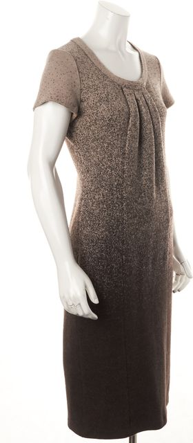 ARMANI COLLEZIONI Brown Beige Ombre Wool Pleated Front Sheath Dress