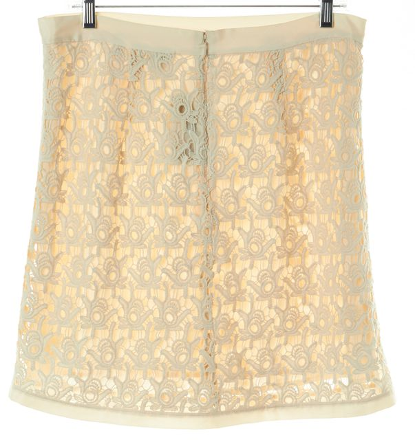 ARMANI COLLEZIONI Ivory Crochet Abstract A-Line Skirt