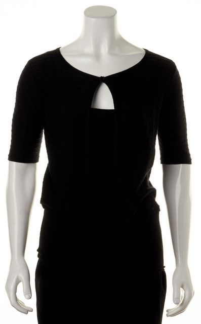 ARMANI COLLEZIONI Black Short Sleeve One Button Casual Knit Top
