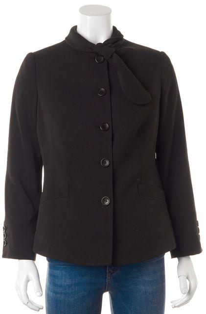 ARMANI COLLEZIONI Brown Wool Loop Closure Collar Basic Jacket