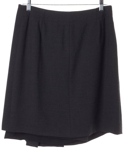 ARMANI COLLEZIONI Gray Wool Pleated Above Knee Wrap Skirt