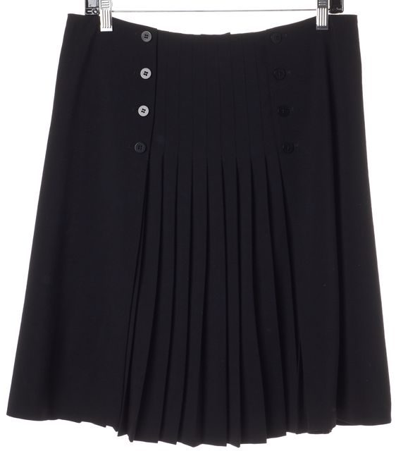 ARMANI COLLEZIONI Black Wool Pleated Button Front A-Line Skirt