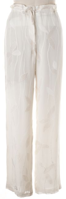 ARMANI COLLEZIONI Ivory Floral Embroidered Silk Trouser Dress Pants