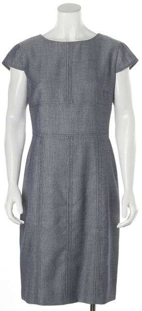 ARMANI COLLEZIONI Blue Wool Cap Sleeve Mid-Calf Shift Dress