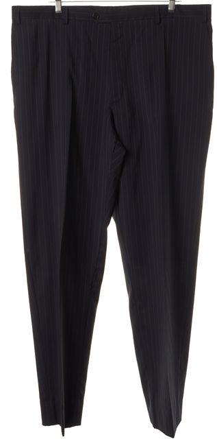 ARMANI COLLEZIONI Navy Blue Pinstripe 100% Wool Dress Pants