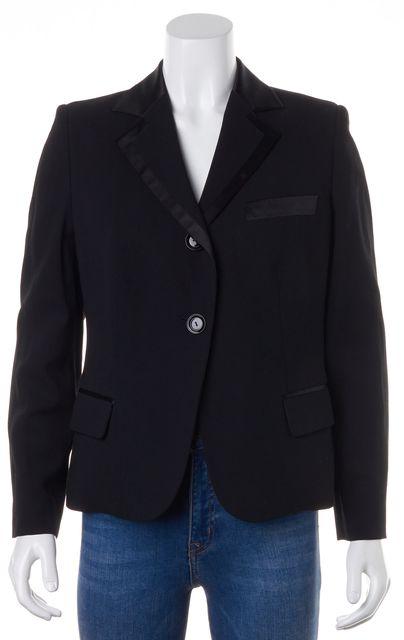 ARMANI COLLEZIONI Black Wool Double Button Pocket Front Blazer