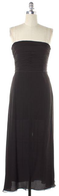 ARMANI COLLEZIONI Dark Brown Strapless Formal Maxi Dress