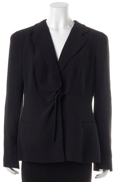 ARMANI COLLEZIONI Black Wool Tie Front Blazer