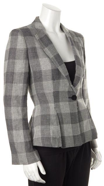 ARMANI COLLEZIONI Gray Check Wool One Button Fitted Blazer