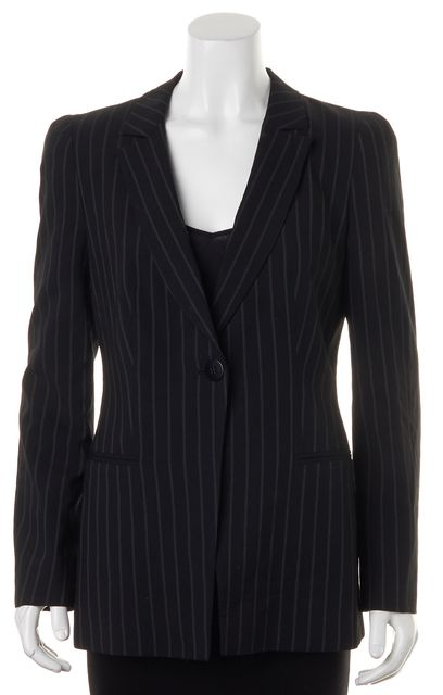 ARMANI COLLEZIONI Black Gray Striped One Button Blazer