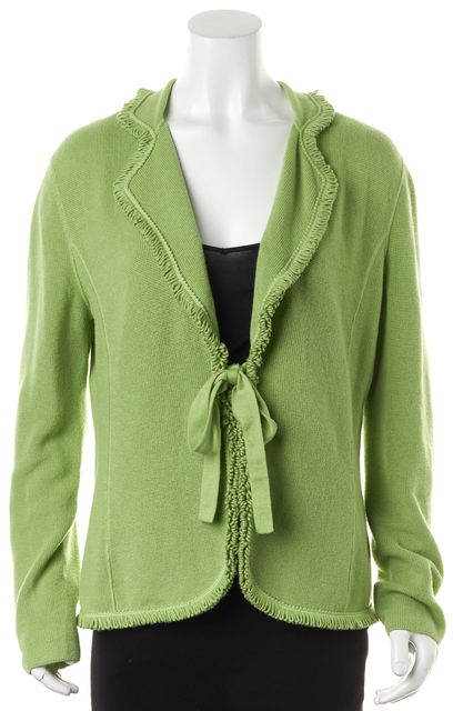 ARMANI COLLEZIONI Green Wool Waffle Knit Tie Front Cardigan