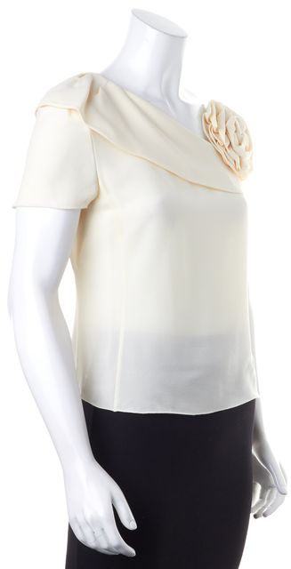 ARMANI COLLEZIONI Ivory Flower Embellished One Shoulder Blouse Top