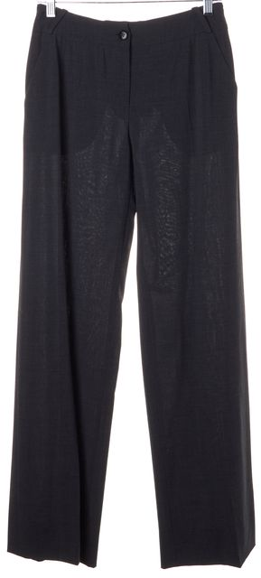 ARMANI COLLEZIONI Solid Gray Wool Loose Fit Dress Pants Bottom
