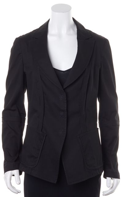 ARMANI COLLEZIONI Black Stretch Cotton Snap Button Blazer Jacket