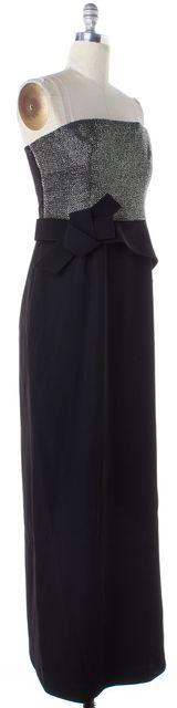 ARMANI COLLEZIONI Black Bead Embellished Strapless Maxi Dress