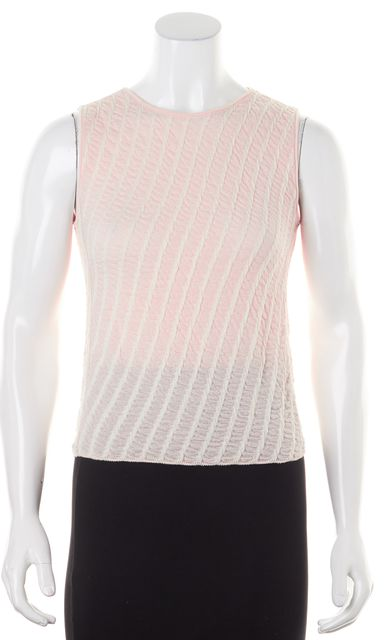 ARMANI COLLEZIONI Pink Cream Textured Striped Sleeveless Knit Top