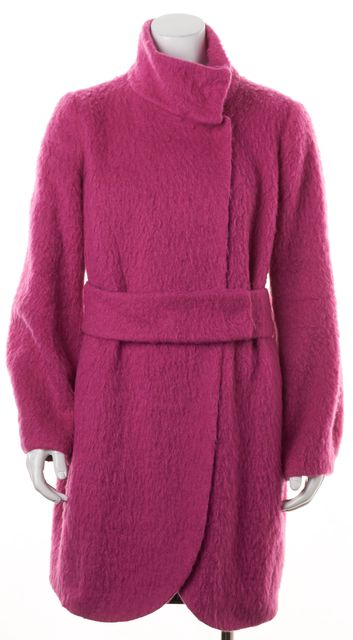 ARMANI COLLEZIONI Pink Wool Mohair Fuzzy Textured Belted Winter Coat